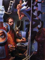 """Lukas Johannes Aigner, """"Aufstieg und Fall"""", Acryl/Öl auf Tafel, 100x78cm, 2006"""
