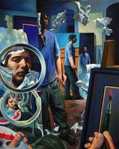"""Lukas Johannes Aigner, """"Spiegelwelten"""", Acryl/Öl auf Tafel, 200x160cm, 2006"""