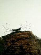 Sans titre - Acrylique, huile et pigments sur toile - 70 x 100 cm
