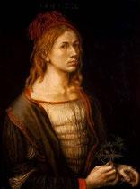 Альбрехт Дюрер. Автопортрет с чертополохом. 1493 г.