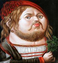 "Рамиль  Хабибуллин ""Портрет Дюрера"". 2009 г. Холст, масло. 40х37 см."