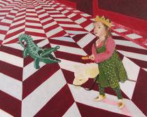 """""""Saint Michel et le dragon"""", 2013, 30x24, tempera sur bois ©"""