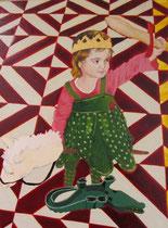 """""""Saint Michel terrassant le dragon"""", 2013, 24x18, tempera sur bois ©"""