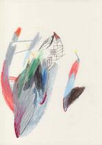 o. T. (Gauben) . 2015 . Mischtechnik auf Papier . 29,7 x 21 cm . Privatsammlung
