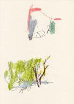 o. T. (Forsythie) . 2015 . Mischtechnik auf Papier . 29,7 x 21 cm
