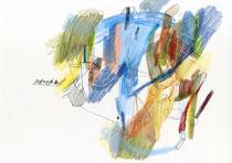 o. T. (Landschaft mit Einstieg) . 2015 . Mischtechnik auf Papier .  29,7 x 42 cm