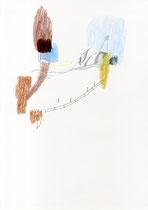 o. T. (Straße) . 2015 . Mischtechnik auf Papier .  42 x 29 cm