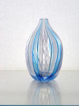 レースガラス 花器 ブルー