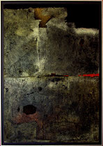1981- Rimbaud brun technique mixte sur toile 90x130cm Prix 2.300€