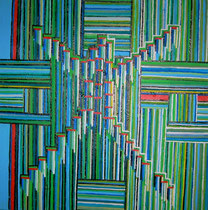 """Strichcode"" Acryl auf Leinwand, 50x50 cm"