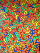 """""""Vielseitigkeit der Menschen V"""" Acryl mit Struktur auf Leinwand, 80x60 cm"""