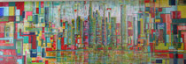 """Lego-City"" Acryl auf Leinwand in Spachtel-Technik, 150x50 cm"