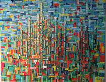 """Kathedrale"" Acryl auf Leinwand in Spachtel-Technik, 100x80 cm"