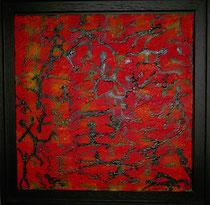 """""""Vielseitigkeit der Menschen I"""" Acryl mit Struktur auf Leinwand, Schattenfugenrahmen, 33x33 cm"""