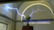 Ici, une expérience électrique dans une cage de Faraday