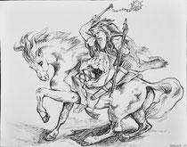 """""""Attila et Balamer""""  d'après Delacroix        encre sur papier"""