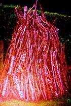 Minimal Landart erdengoldKUNSTwerk, burning bush pile, copyright Nathalie Arun
