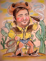 шарж по фото ковбой с сигарой
