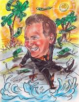 шарж бизнесмен на пляже