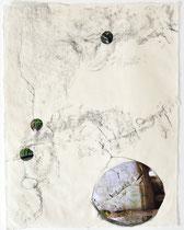 Graphit/Collage auf Washi, 25x32 cm, 2018
