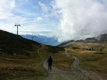 Auf dem Weg zur Bettmeralp im Hintergrund das Matterhorn