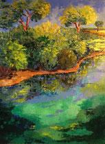 2012 - Palpito verde - olio a spatola su tela - 80x60 cm