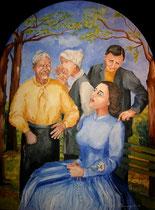 2009 - Opera di misericordia spirituale -sopportare pazientemente le persone moleste - olio su tavola - 60x45 cm