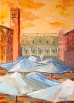 2011 - Pomeriggio in Piazza Erbe - olio a spatola su tela - 70x50 cm