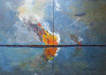 2014 - SENZA AMORE,SENZA PACE, SENZA VITA - dittico - olio a spatola su tela - 70x100 cm