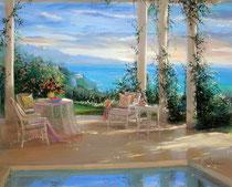 「カリフォルニアの朝」 キャンバスに版画 50x60cm