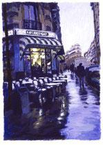 「雨上がりのカフェ」 版画 約 53 x 37cm