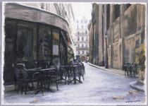 「細道のカフェ」 22x30.4cm