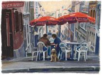 「午後のルピック通り」 版画 約 35.5x51cm