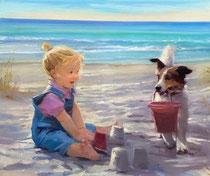 「砂あそび」 キャンバスに版画 38x45.5cm