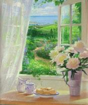「朝の香り」 キャンバスに版画 60x50cm