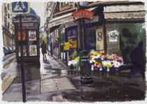 「雨上がりの花屋」版画 約 35x53cm