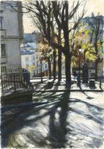 「秋のモンマルトル・正午」 版画  約 53 x 37cm