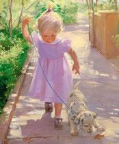 「初めての散歩」 キャンバスに版画 45.5x38cm