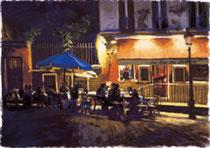 「さんざめくカフェ」 版画 約 37 x 53 xcm