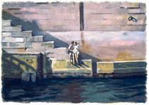 「セーヌの恋人」 版画 約 36x53cm