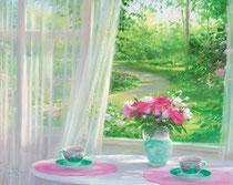「二人でお茶を」 版画(紙) 45.5x53㎝