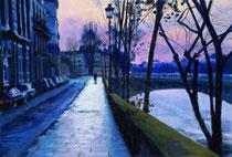 「サンルイ島の夕焼け」 版画 約 37 x 53 cm