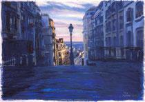 「丘を昇る朝陽」 版画 約 37 x53 cm