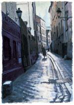 「午後のサンリュスティック通り」 版画 約 53 x 37cm