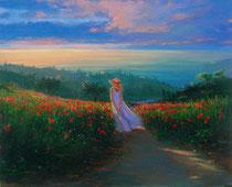 「夕日に向かって」 キャンバスに版画