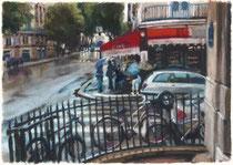 「リヴォリ通りに雨」 版画 約 37 x53cm