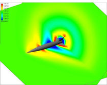 Density, Mach 1.62--rotated, with plot to show distribution around fins
