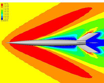 Density, Mach 2.41--color contours modified to see detail in shock waves