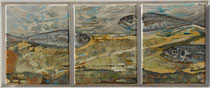 Triptico de peixes - oil, acryl and sand on canvas - 65 x 25 cm-SOLD-