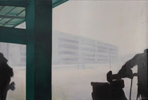 """Airport II"" 40M (100x65cm) Oil on paper mounted on canvas"
